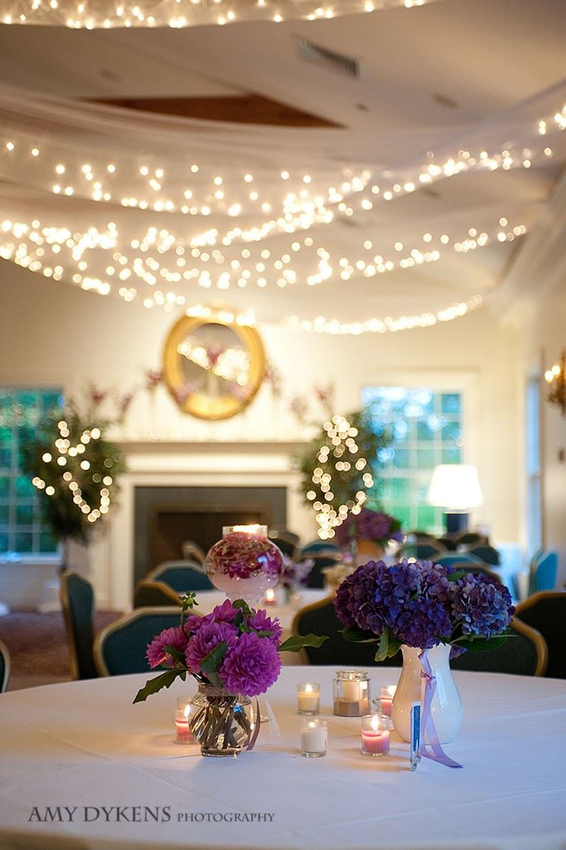 Purple Flowers Under Lights