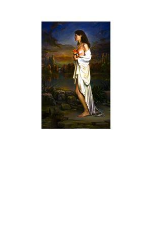 Giovane con vestito bianco in un paesaggio Claudio Sacchi | 20000003 | SACCHI2GIOVANE CON VESTITO BIANCO