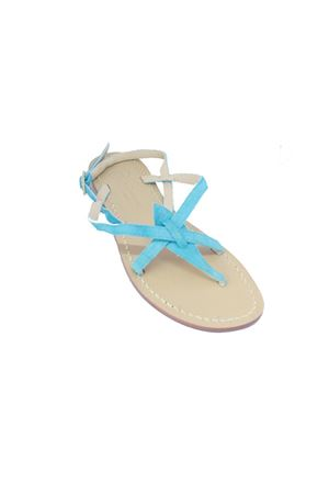 Turquoise Capri sandals in suede Da Costanzo | 5032256 | 02/CTURCHESE