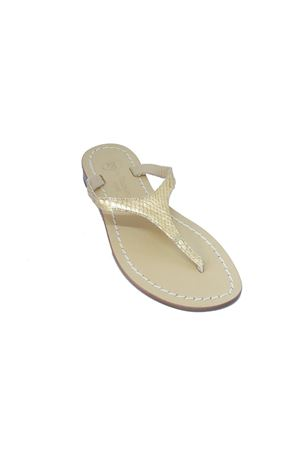Sandali capresi infradito in pelle di pitone oro Da Costanzo | 5032256 | 2257ORO