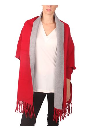 Red and grey poncho with fringes Aram V Capri | 3 | PNSEFFW16-RGROSSO
