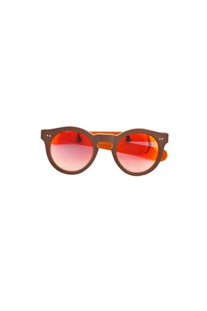 Occhiali da sole artigianali con montatura bicolor Capri People | 53 | BOTTEGHEORANGEBROWN MIRROR