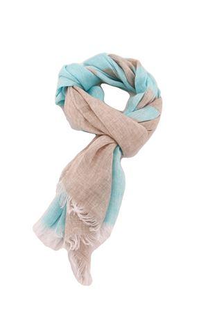 Linen scarf Colori Di Capri   77   STRIPESCARFTURCHESE/BEIGE