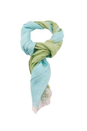 Sciarpa in puro lino bicolor Colori Di Capri | 77 | STRIPESCARFTURCHESE/VERDE