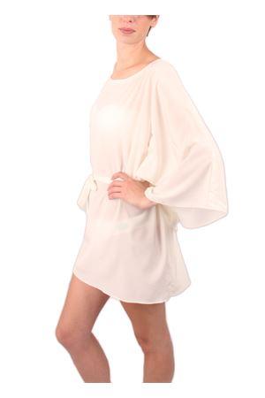 White silk kaftan with belt and wide sleeves Aram V Capri | 20000033 | KFNPLWSS16BIANCO