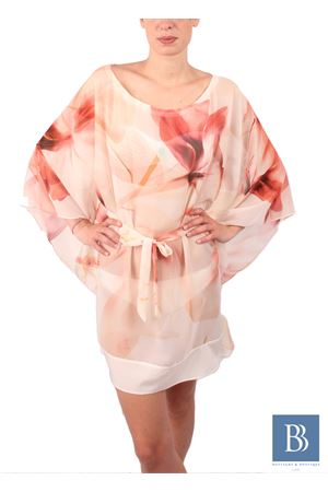 Kaftano in seta leggera con fantasia di rose e maniche ampie Aram V Capri | 20000033 | KFNPRLSS16ROSES