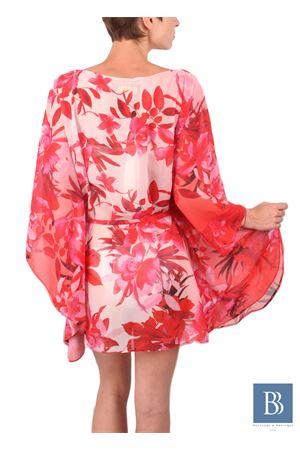 Kaftano in pura seta con fantasia di fiori rosa Aram V Capri | 20000033 | KFNPRRSS16RED FLOWERS