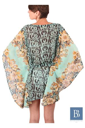 Pure silk green kaftan with floral print Aram V Capri | 20000033 | KFNPRWSS16VERDE