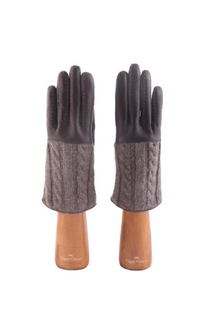 Cashmere and leather black and grey gloves Capri Gloves | 34 | CA2182BLACK