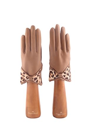Guanti in pelle beige con fiocco in cavallino maculato Capri Gloves | 34 | CA2211CAMEL
