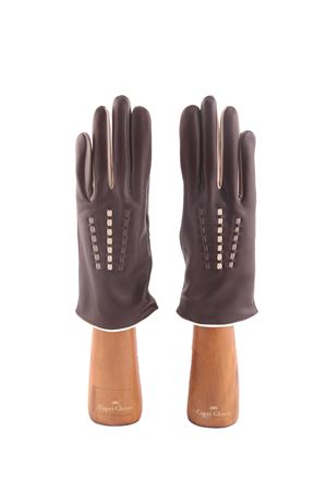 Guanti Capri Gloves in pelle marrone con intrecci multicolore Capri Gloves | 34 | CA2487EBANO BROWN
