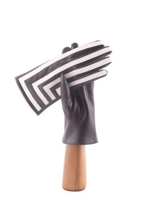 Guanti artigianali in pelle a righe bianche e nere Capri Gloves | 34 | CA2494BLACK