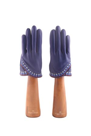 Blue leather handmade Capri Gloves Capri Gloves | 34 | CA2498ELECTRIC BLUE