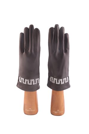 Guanti in pelle neri con strass Capri Gloves | 34 | CA2501B LACK