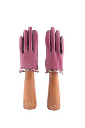 Short gloves with golden chains Capri Gloves | 34 | CA2512FUCSIA