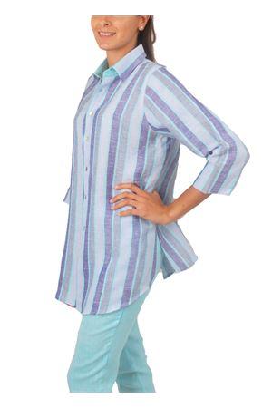 Handmade linen shirt Colori Di Capri | 6 | CAMICIA COMFORT RIGAAZZURRO