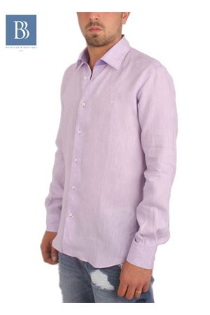 Camicia artigianale in lino lilla Colori Di Capri   6   COLLO BICOLOR SLIMLILLA