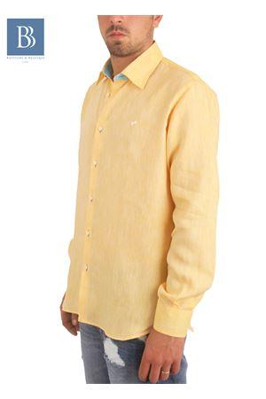 Camicia artigianale in lino gialla Colori Di Capri   6   COLLO BICOLORGIALLO