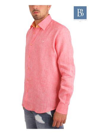 Camicia artigianale in lino rosa Colori Di Capri   6   COLLO BICOLORROSA