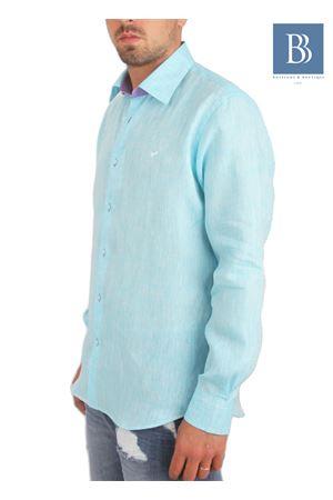 Camicia artigianale in lino turchese Colori Di Capri | 6 | COLLO BICOLORTURCHESE
