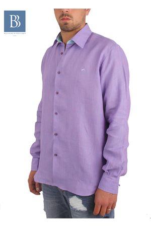 Camicia artigianale in lino viola Colori Di Capri   6   COLLO BICOLORVIOLA