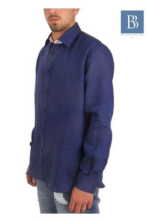 Camicia artigianale in lino blu Colori Di Capri   6   COLLO DELFINOBLU