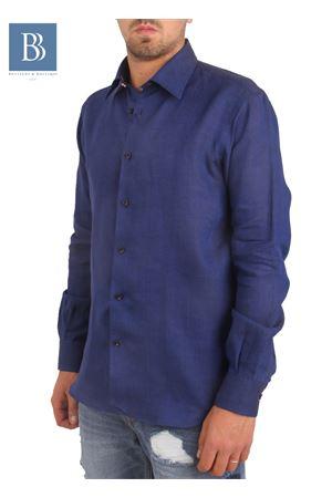 Camicia artigianale in lino blu Colori Di Capri | 6 | COLLO POISBLU