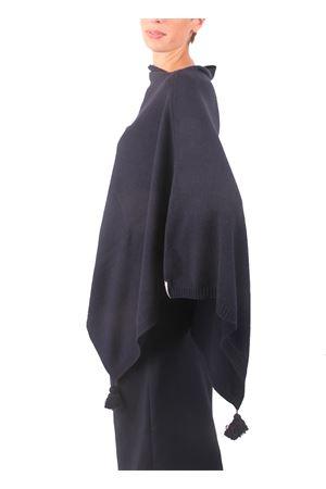 Poncho in lana, seta e cachemire da donna blu Colori Di Capri | 52 | PONCHOCACHSILKBLU