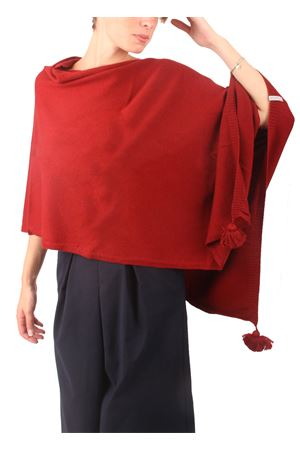 Poncho in lana, seta e cachemire da donna bordeau Colori Di Capri | 52 | PONCHOCACHSILKBORDEAU