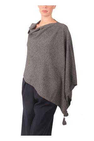 Poncho in lana, seta e cachemire da donna grigio Colori Di Capri | 52 | PONCHOCACHSILKGRIGIO