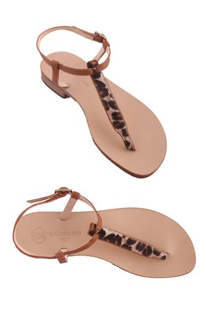 Sandali Capresi infradito maculati in pelle Da Costanzo | 5032256 | 2247MARRONE