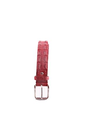 Crocodile bordeau leather belt Da Costanzo | 22 | CROCODILE BIGBORDEAUX
