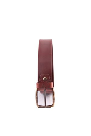 Cintura artigianale in pelle marrone Da Costanzo | 22 | FIBIA ASIMMETRICAMARRONE