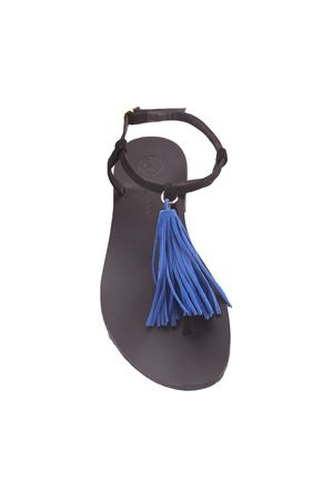 Capri sandals with blue decorative tassels Da Costanzo | 5032256 | NAPPINE CAMBLU