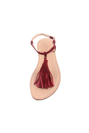 Capri sandals with bordeaux tassels Da Costanzo | 5032256 | NAPPINE CAMBORDEAUX