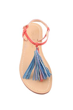 Capri sandals with decorative multicolor tassels Da Costanzo | 5032256 | NAPPINE CAMMULTICOLOR