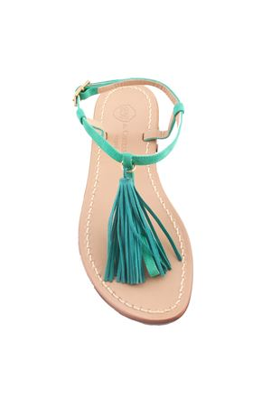 Green Capri sandals with tassels Da Costanzo | 5032256 | NAPPINE CAMVERDE