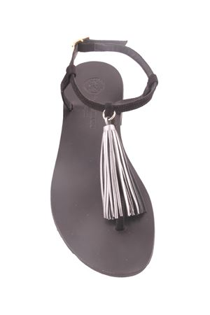 Sanadali capresi neri con nappine decorative argentate Da Costanzo | 5032256 | NAPPINE PELLEARGENTO