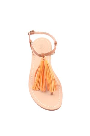 Capri sandals witrh orange decorative tassels Da Costanzo | 5032256 | NAPPINE2 PELLEARANCIO