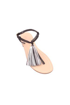 Handmade Capri sandals with silver tassels Da Costanzo | 5032256 | NAPPINE2 PELLEARGENTO