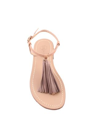 nude Capri sandals with decorative grey tassels Da Costanzo | 5032256 | NAPPINE2 PELLEGRIGIO