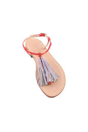 Pink capri sandals with decorative tassels Da Costanzo | 5032256 | NAPPINE2CAMBIANCO