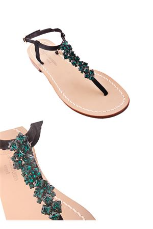 Sandalo caprese con gioiello verde Da Costanzo | 5032256 | S3076VERDE
