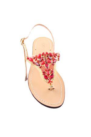 Sandali gioiello capresi con pietre swarovski rosse Da Costanzo | 5032256 | S3327ROSSO