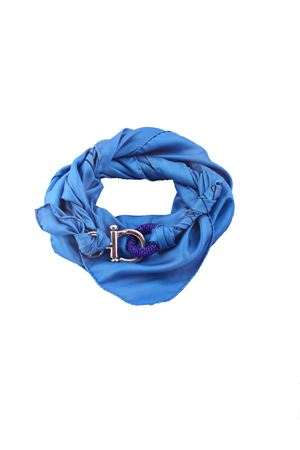 Pure Italian silk scarf with decorated hook closure Grakko Fashion | -709280361 | GR115AZZURRO