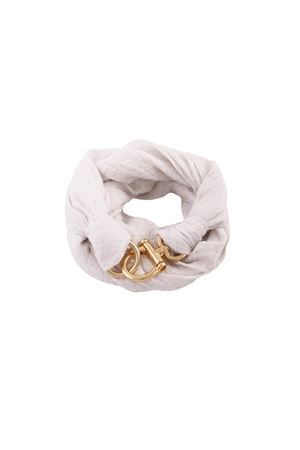 Linen white scarf with hook closure Grakko Fashion | -709280361 | GR120BIANCO