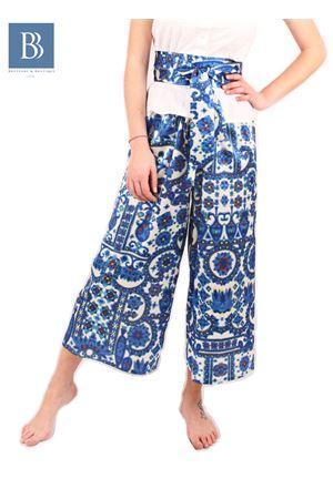Pantalone ampio in pura seta a fatasia Laboratorio Capri | 9 | LAB128KIMONO AZZURRO
