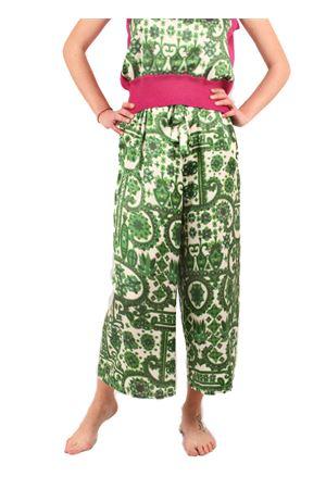 Pantalone in seta modello ampio alla caviglia Laboratorio Capri | 9 | LAB128KIMONO VERDE
