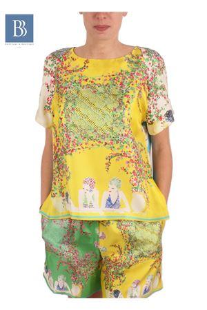 T-shirt in seta con stampa di donne Capresi Laboratorio Capri | 20000031 | LAB133DONNE DI CAPRI