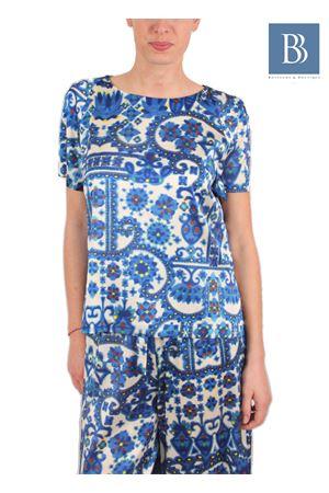 T-shirt in pura seta con fantasia azzurra Laboratorio Capri | 20000031 | LAB134TSHIRT KIMONO BLU